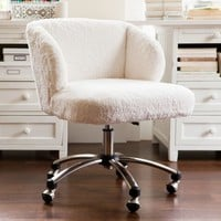 Ivory Sherpa Wingback Desk Chair
