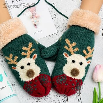 Christmas Gloves For Women Winter Mittens Cute Cartoon Print Knitted Warm Glove Ladies Outdoor Full Finger Driving Gloves