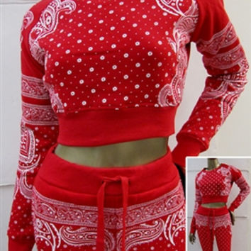Bandana Paisley Print Banded Crop Top Sweatshirt Red (Red Fox)
