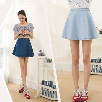 Short Denim Skirt High Waist Sexy Women Modest Jeans Tight Fitted Flared Dress SV006462 = 1902422532