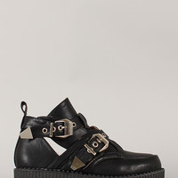 Wild Diva Lounge Credence-11 Buckle Flatform Creeper