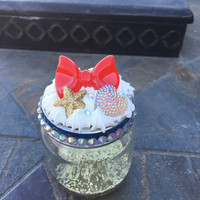 Stash jar. Trinket jar. Jewelry box. Glitter bottom