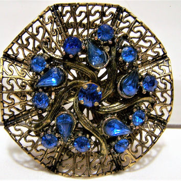 Sapphire Blue Glass Rhinestone Pin, Gold Tone Open Work Brooch, Mid Century Vintage Jewelry, Costume Jewellery  517