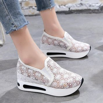 2018 Women Casual Platform Shoes Lace High Heels Shoes Woman Wedges Women Shoes Trainers Loafers Height Increasing