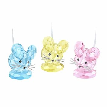 Swarovski Color Crystal Set of 3 Figurines REPLICA MOUSE SET 2016 #5243778