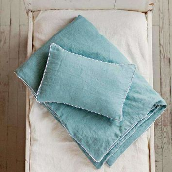 Baby Boy Bedding Set: Duvet Cover & Toddler Pillowcase in Blue Washed Linen