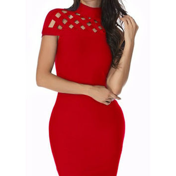 Cage Bandage Dress - Red