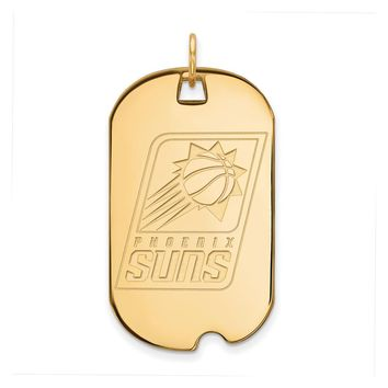 NBA 14k Yellow Gold Plated Silver Phoenix Suns Large Dog Tag Pendant
