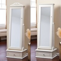 Walmart: Belham Living Removable Decorative Top Locking Mirrored Cheval Jewelry Armoire - Off White