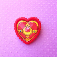 "Handmade ""Moon Heart Scepter"" Sailor Moon Inspired Heart Brooch - Cosplay - Anime - Japan"