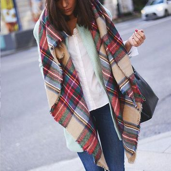 Fashion Multicolor Plaid Raw Edge Scarf