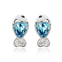 YCJ Women's Rhodium Plated Alloy Earrings: Little Fish Theme Color Light Blue