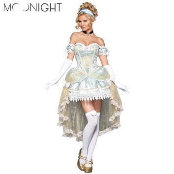 MOONIGHT Halloween Party Women Cinderella Costumes Ladies' Fancy Dress Adult Women Cinderella Princess Dress Cosplay Costume