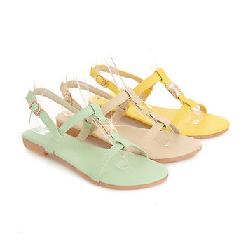 Sale Promotion Size US 4 Women's Sandals Summer Ankle Strap Beach Flats Ladies Sequined Yellow Shoes V-06