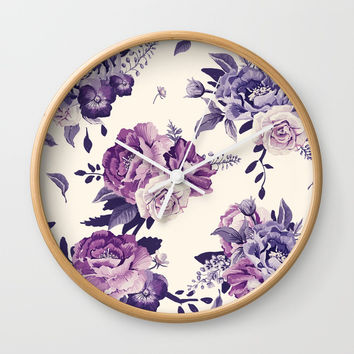 Purple floral boho pattern Wall Clock by printapix