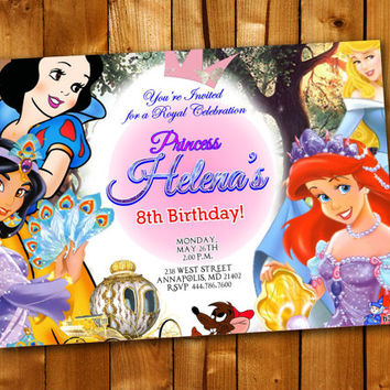 Disney Princess Ariel Snow Aurora Jasmine, Birthday Invitation, Birthday Party for little boy and little girl