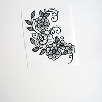 Floral temporary tattoo by Myra Oh
