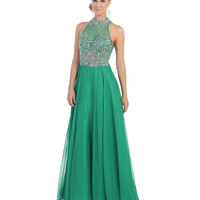 Preorder -  Green Beaded Halter Ball Gown 2015 Prom Dresses
