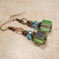 AB Aqua Blue and Green Beaded Dangle Earrings Antiqued Gold Tone Sparkle Glitz Glam Bling Womens Jewelry Gift Vintage Style Cube Faceted