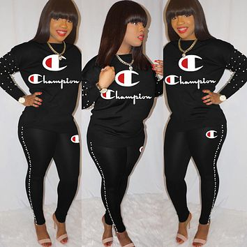 Champion new women's letter printing casual wild pants set two-piece black