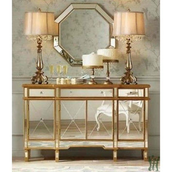 Console 3 Drawers 4 Doors Gold and Mirrored - Powell Company