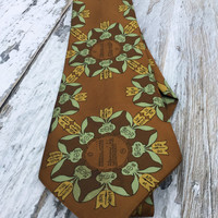 Novelty Print Tie . Vintage Men's Necktie . Metric Table Necktie . Science Print Tie .