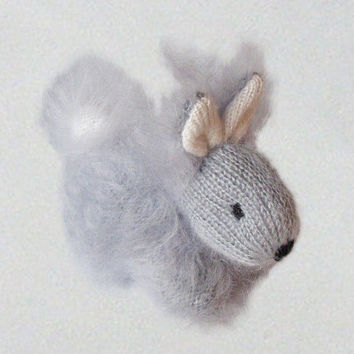 Easter rabbit - Gray Bunny - Cute Fluffy Rabbit - Hand Knitted Bunny - Stuffed Animal Baby Toy - Mohair Knitted Animal Home Decoration