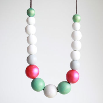 Pink white mint extra large necklace, chunky wooden beads, pastel ombre necklace, wood hand painted pastel necklace