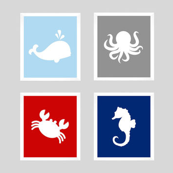 Nautical Prints, Nautical Decor, Nautical Nursery, Ocean Prints, Crab Print, Seahorse Print, Whale Print, Wall Art, CUSTOMIZE YOUR COLORS