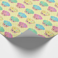 Cute Cupcake Lover's Polka Dot Wrapping Paper