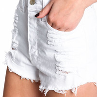 High Waisted Cut Off White Denim Shorts