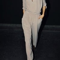 Notched Lapel Jumpsuit with Wide Thigh