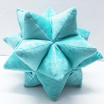surf blue origami twinkle star pillow-nursery decor - triangle patchwork pillow-velvet cushion-fun pillow -modern home decor pillow