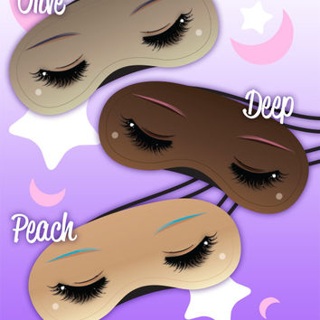 Dream Girls Kawaii Shoujo Manga Eyes Blackout Sleep Mask, Multiple Skin Tones, Fairy Kei Pastel Goth