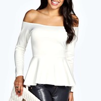 Tilly Off The Shoulder Peplum Scuba Top
