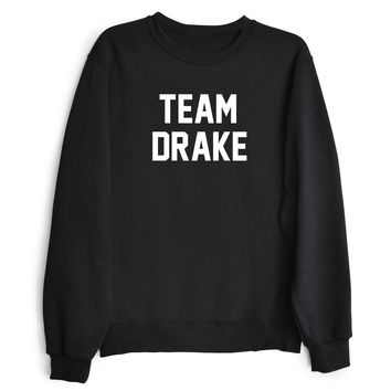 TEAM DRAKE Women's Casual Black Crewneck Sweatshirt