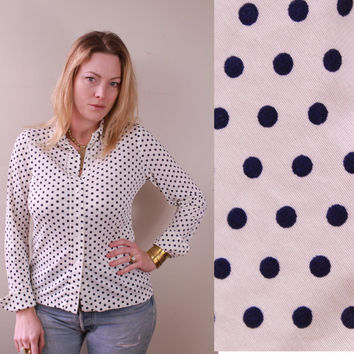 Vintage 70s - Ivory Cream & Navy Blue - Polka Dot - Long Sleeve - Button Up - Collar - Womens Shirt
