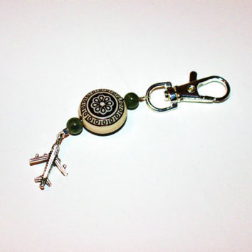 Beaded Keychain with Silver Airplane Charm