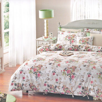 Floral Romantic Bedding Set in Camelia, Beige, Green, Red, Pink Rose Print for Queen, Full - Set of Duvet Cover, Sheet, Shams & Pillow Cases