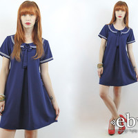 Vintage 90s Navy Mini Sailor Dress M L Sailor Mini Dress Nautical Dress Summer Dress Babydoll Dress Navy Dress Dolly Dress Peter Pan Dress