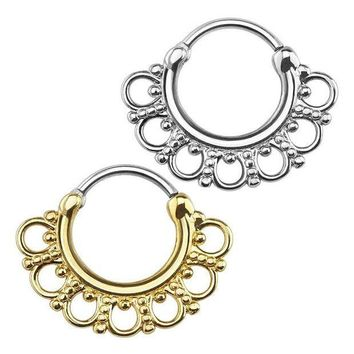 ac ICIKO2Q 2x Tribal Circles Fan Round Septum Nose Rings Clicker Hanger Stud Piercing Jewelry Gold Steel