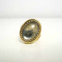 Vintage Gold Tone Ring with Marble Like by CutandChicVintage