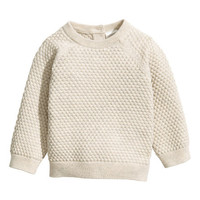 Textured-knit Cotton Sweater - from H&M