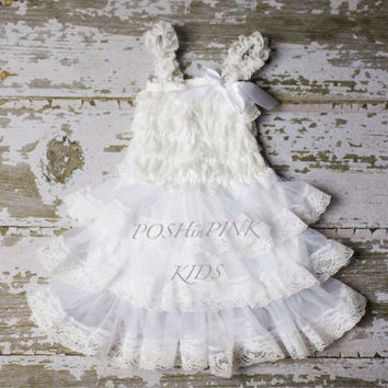 Rustic girl dress, country white or Champagne, cream lace chiffon girls dress, flower girl, bridal wedding, birthday, shabby chic, vintage,