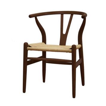 Baxton Studio Mid-Century Modern Wishbone Chair - Dark Brown Wood Y Chair Set of 2
