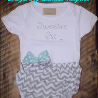 "Gray Chevron Diaper Cover Bloomers for Baby Girl ""She's A Sweetie Pie"" Baby Set  Onesuit Set Baby Pants"