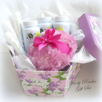 Body Powder Gift Set - Orchid powder puff gift set - orchid purple pink pouf - can be customized - choose scents