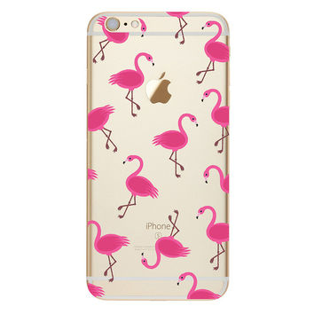 Lots of delicate Pink Flamingos over clear Phone Case For iPhone 7 7Plus 6 6s Plus 5 5s SE