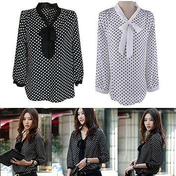 Women's Summer Polka Dot Bowknot Chiffon Shirt Loose Long Sleeve Blouse Top New Arrival