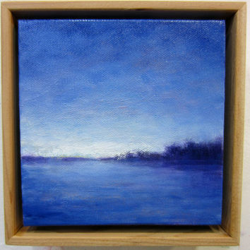 Abstract Landscape Painting, Blue September, Coastal